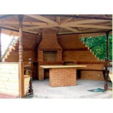 Барбекю для дачи под крышей из кирпича