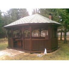 Восьмиугольная деревянная беседка БД 8-23